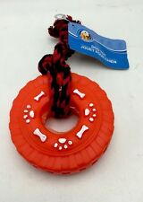 Dog Pet Vinyl Squeak Tire Swing With Rope Handle Chew Tug Red Toy New