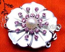 SALE Double Layer 35mm Shell Cameo Pearl 3 string Purple Crystal clasp-gp76
