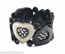 New Acrylic Heart Stretch Bracelet in Black & Taupe with Glass Beads & Diamante