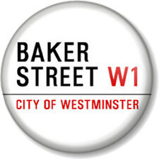 "BAKER STREET W1 25mm 1"" Pin Button Badge Sherlock Holmes London Road Sign"