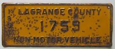 Indiana 1957 LAGRANGE COUNTY NON-MOTOR VEHICLE BUGGY License Plate # 1759
