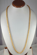 Indian Handmade Beautiful Designer 14 k Gold Plated Chain 5 mm 36 Inch Long