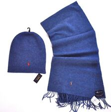 NEW RALPH LAUREN POLO MEN LONG HAT + SCARF GIFT SET SKI MERINO WOOL  SMALL PONY