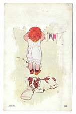 Little Girl Hanging Laundry Dog Drinking from Bottle 1906 Postcard S S Porter