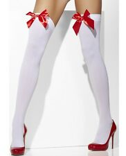 Ladies Opaque Fancy Dress Hold Up Stockings Sexy White & Red Bow New Smiffys