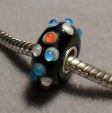BLUE, WHITE & RED prongs on BLACK -925 stamp Sterling Silver EUROPEAN Glass Bead