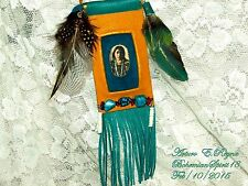 Arturo E.Reyna TRIBAL WOMAN NATURAL TURQUOISE TALISMAN LEATHER SIGNED NECKLACE
