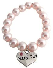 New Born Baby Jewelry Baby Girl Charm Soft Pink Pearl Bracelet