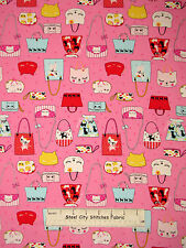 Kitty Cat Purse Fabric ~ 100% Cotton By The Yard ~ Lecien Nyan Cat Bag Toss Pink