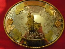 CHAMPION CALFING Roping  RODEO BELT BUCKLE German SILVER 1988 Made in USA
