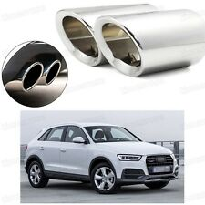 2Pcs Car Exhaust Muffler Tip Tail Pipe Trim Silver for Audi Q3 2012-2017 #4032