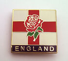 ROSE AND FLAG ENGLAND PIN BADGE - Rugby, Patriotic, St George Cross, Lapel Badge