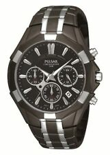 PULSAR PT3289 CHRONOGRAPH DATE BLACK DIAL BLACK ION ST.STEEL MEN'S WATCH