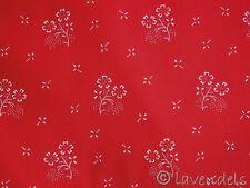 Tessuto Di Dirndl@rosso Cotone Tradizionale Stoffa Fiori Rose Costume