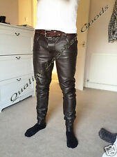 100% GENUINE LAMB BROWN  LEATHER Mens THIGH FIT PANTS JEANS  TROUSERS 7A