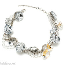 NWT Amrita Singh Onyena Chains Clear Accents Chunky Mod Retro Statement Necklace