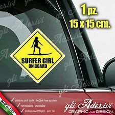 Adesivo Stickers Auto Moto Camper SURFER GIRL ON BOARD segnale a bordo