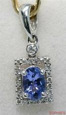 Oval Cut Natural Tanzanite & Diamond Pendant Set In Solid 18K White Gold