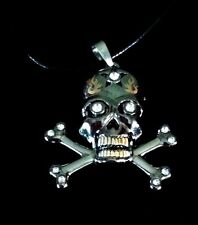 Cross Bones Skull Silver Top Stainless Steel Mens Pendant Necklace Leather Cord