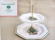 "NIKKO Japan CHRISTMASTIME 2 TIER CHRISTMAS Stacked Snack Plates~11"" Wide x 10"" T"