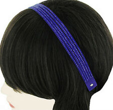 MULTI-STRAND FAUX SUEDE ROYAL BLUE STUDS STRETCH  STYLE HEADBAND HATBAND