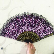 pink Leopard design Print Fabric Folding Hand Fan black lace trim 000