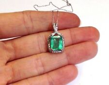 3.25CT Colombian Emerald and Diamond Halo 14K White Gold Pendant Necklace