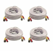 *4x 100ft HD Security Camera Cable CCTV Video Power Wire BNC RCA White Cord DVR