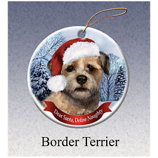 Border Terrier Howliday Porcelain China Dog Christmas Ornament