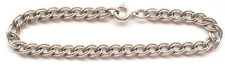 Beautiful 925 Solid Sterling Silver Double Oval Curb Chain Link Etched Bracelet