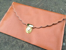 Womens Designer Envelope Scalloped Clutch Chain Purse Shoulder Leather Handbag