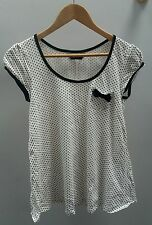Dorothy Perkins White Tee Size 10 Polka Dot Bow Top T Shirt  J1311