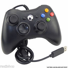 NEW BLACK WIRED CONTROLLER FOR MICROSOFT Xbox 360 1YR WARRANTY UK SELLER