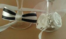 Set of Bride & Groom Champagne wine flute glass covers/wedding  decoration gift
