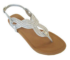 New  Ladies' Braided Gladiator Flat Sandal T-Strap Thong Sandals(8016)