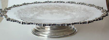 Fine Antique Silver Plate Rotating Tray W/Floral Etching & Ornate Trim-Marked