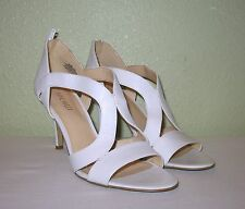 WOMENS WHITE LEATHER NINE WEST STRAPPY ZIP-UP PUMPS HEELS US 9.5 EU 39.5 40 40.5