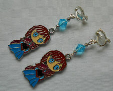Handmade clip on earrings Disney Frozen Anna silver plated with blue beads