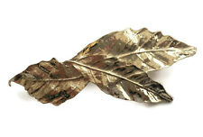 Pretty Leaf Design Hair Clip Grip Barrette Gold Tone Metal Small Size