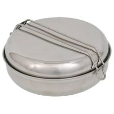 "NEW Olicamp Stainless Steel Mess Kit - 6.75"" Fry Pan, Pot w/Lid, 6.5"" Dish, Cup"