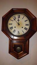 Vintage Wood Schoolhouse Regulator Wall Clock-Key Wind Pendulum Chime Works 1950