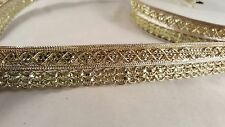 *fabulous 2 cm gold woven sequenced trim lace for crafting designing edging 1M