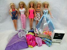 MATTEL BARBIE DOLL LOT OF 5 DOLLS WITH CLOTHES + EXTRAS