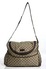 Gucci Beige Monogram Canvas Messenger Diaper Bag