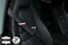 2X FOR TOYOTA SPORT STRIPES LEATHER GREEN STITCH LUXURY SHOULDER SEAT BELT PADS