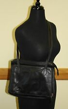 Tignanello Black Leather Purse Shoulder Bag Traveling Organizer Netbook Tablet