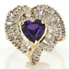 Vintage 14k Yellow Gold Amethyst Diamond Heart Love Cocktail Ring Estate Jewelry