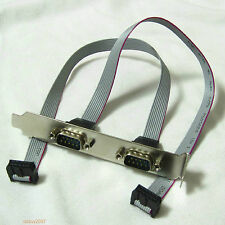 2 in 1 2-port DB9 RS232 9pin Com Port Serial Cable Cord host case rear Bracket