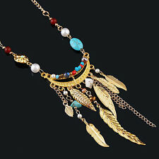 Women's Long Leaves Tassel Pearl Turquoise Beads Sweater Chain Necklace Posh