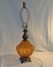 Large Mid-Century Art Deco Amber Glass and Brass Table Lamp by Rick Bar Sales